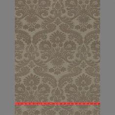 Sample of Beige Elizabeth Damask Velvet Flocked Wallpaper by Burke Decor