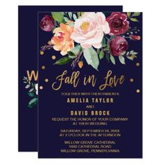 Autumn Floral | Fall In Love Wedding Card - click/tap to personalize and buy  #wedding #invitation #weddingideas #weddinginspiration  #flower #floral #botanical #garden #outdoor #nature #romantic