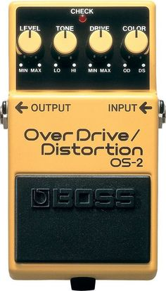 BOSS OS-2 Overdrive/Distortion One compact pedal provides you with overdrive and distortion. Or, blend the two! No matter your guitar/pickup combination of choice, the OS-2 preserves the distinctive d