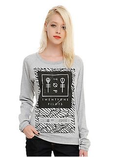 <p>Lightweight pullover top from Twenty One Pilots with a large scale logo design on front.</p>  <ul> <li>90% cotton; 10% polyester</li> <li>Wash cold; dry low</li> <li>Made in USA</li> <li>Listed in junior sizes</li> </ul>