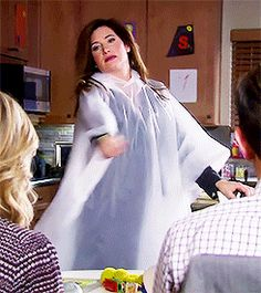 Jen Barkley from Parks and Rec - Poncho! Because every surface in this house is sticky. Children are gross. Tv Funny, Hilarious, Parks And Recs, Kathryn Hahn, Parks Department, Favorite Tv Shows, My Favorite Things, Leslie Knope, Amy Poehler