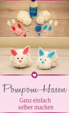 Pompom-Hasen zum selber basteln. Wir zeigen dir wie es geht. #doityourself #basteln #ostern