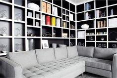 Bookshelves in the living room.