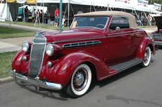 Doug DeRosica's 1936 Chrysler Six convertible coupe is one of just 650 built that model year. The car sports radial tires, one of the few clues that indicate there may now be more cylinders under the hood. Chrysler Cars, Chrysler 300, Old Race Cars, Old Cars, Vintage Cars, Antique Cars, Chrysler Imperial, Old Classic Cars, Sport Cars