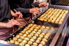 Stock Photo : Process to Cooking Takoyaki on hot pan Famous food Osaka Japan street food Western Breakfast, Japan Street Food, Famous Drinks, Japanese Festival, Takoyaki, Fast Food Chains, Japanese Dishes, Osaka Japan, Foodie Travel