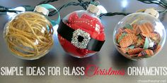 Simple Ideas for Glass Christmas Ornaments via Chase the Star for Happiness Is Homemade #ornament #DIYChristmas #glassOrnaments #DIYCrafts