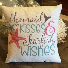 Mermaid Pillow 12x12 nautical coastal summer by JoellesCorner