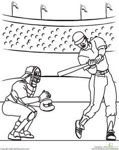 Free Printable Baseball Coloring Page catcher baseball
