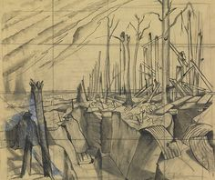'Oppy Wood, 1917 Evening', by John Nash. | Extraordinary First World War Art, From Initial Sketches To Finished Paintings