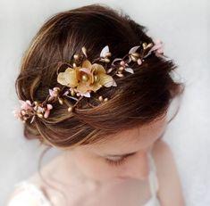 bridal headpiece, gold pink flower circlet, bridal flower for hair, gold headpiece, flower hair wreath - SERAPHIM - wedding hair accessories. $80.00, via Etsy.