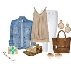 A fashion look from April 2012 featuring beige shirt, denim jacket and True Religion. Browse and shop related looks. Casual Outfits, Cute Outfits, Fashion Outfits, Work Fashion, Work Outfits, Mommy Style, Her Style, Polyvore Casual, Couture