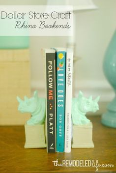 The Remodeled Life: Easy Dollar Store Craft (Rhino Bookends)