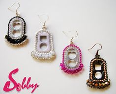 earrings by Sobby on etsy #tutorial #recycle #beadwork #pop tab #earrings