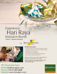 EXPERIENCE HARI RAYA FESTIVAL IN BRUNEI (EXTENDED! With Return Airfare) Minimum of 2 persons  For more inquiries please call: Landline: (+63 2)282-6848 Mobile: (+63) 918-238-9506 or Email us: info@travelph.com #HariRayaFestival #Brunei #TravelPH #TravelWithNoWorries Royal Brunei Airlines, Air Tickets, 3days, Travel Companies, Travel Tours, Twin Cities, Travel Agency, Tour Guide