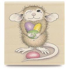 Wood Stamps - House Mouse Mounted Rubber Stamp 1.75X1.75 - Mudpie Holds Jellybeans coloring guide