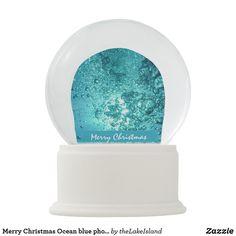 Merry Christmas Ocean blue photography custom Snow Globe