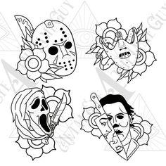 Spooky Tattoos, 13 Tattoos, Body Art Tattoos, Tribal Tattoos, Sleeve Tattoos, Horror Movie Tattoos, Horror Movie Characters, Horror Movies, Fictional Characters