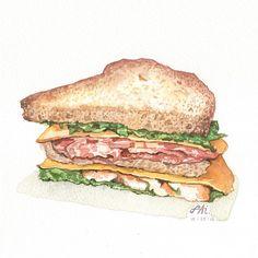 いいね!534件、コメント9件 ― ปุยไฝไดอารีさん(@pf.diary)のInstagramアカウント: 「A huge club-sandwich drawn and painted during my watercolor workshop on Sunday 」