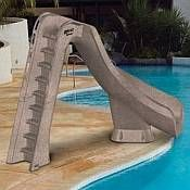 """Add """"A LOT"""" More Fun to Your Swimming Pool by Installing a Swimming Pool Slide! This post talks about lots of different swimming pool slides, brands, and styles. Swimming Pool Slides, Pool Water Slide, Water Slides, Swimming Pools, Pool Fun, Backyard Pool Designs, Small Backyard Pools, Pool Decks, Pool Landscaping"""
