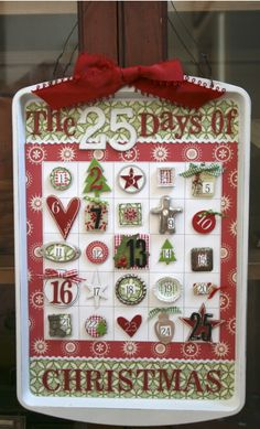 Each day is an item with a magnet on the back.  Made on a cookie sheet!