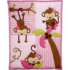 3 Little Monkeys Nursery in a Bag Crib Bedding Set, Girl