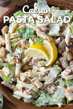 Chicken Caesar Pasta Salad is the perfect dish for summer. Loaded with traditional Caesar Salad ingredients in a creamy garlic lemon dressing this meal is both flavorful and filling. I love that can be made ahead of time and served on the hottest of days, Cesar Pasta Salad, Chicken Ceasar Pasta Salad, Cesar Salat, Snacks Sains, Cooking Recipes, Healthy Recipes, Cooking Ribs, Pasta Salad Recipes, Creamy Pasta Salads