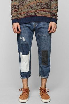 Patched Jeans Mens, Blue Jeans, My Jeans, Blue Denim, Jeans Style, Boro, Patch Jeans, Repair Jeans, Watch Brands