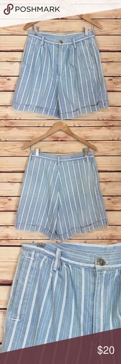 """Vintage Railroad Stripe High Waisted Shorts Blue Vintage shorts. High waisted. Blue and white railroad striped. Front pockets. Front zip and button closure. Cuffed. Marked size 12, please see measurements to ensure proper fit as vintage tends to run small.  Excellent preowned condition with some yellowing, see last picture.  Measurements are approximately: 30"""" waist, 42"""" hip, 14"""" rise, and 6"""" inseam.  100% cotton.  No trades. All items come from a pet friendly, smoke free home. Bundle to…"""