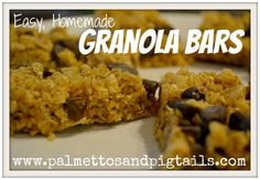 No Bake Chocolate Chip Granola Bars - Palmettos and Pigtails2 c quick cooking oats (not rolled oats!) 1c Rice Krispies 1/4c butter 1/4c honey 1/3c packed brown sugar 1/2 tsp vanilla 2 Tbsp chocolate chips {or as many as your three-year-old deems fit!}…..or cinnamon chips…..or raisins….or marshmallows….or….