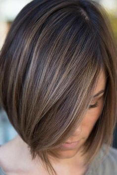Sleek Ash Brown Balayage Bob Chic box style with baby lights in a delicate ash brown or a bolder cinnamon hair color. Brown Balayage Bob, Brown Hair With Highlights, Brown Hair Colors, Subtle Highlights, Brown Blonde, Blonde Balayage, Ash Brown, Balayage Straight, Brunette Highlights Lowlights