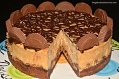Reese's Peanut Butter Cup Cheesecake On A Brownie Crust | Hugs and Cookies XOXO