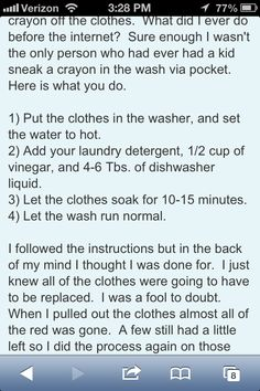 How to get crayon out of clothes that have been washed and dried.
