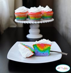 Rainbow cupcakes for St. Patrick's Day.  Tips - use jumbo cupcake pans, and don't divide the batter evenly.  Use less for blue & gradually increase the batter levels for the corresponding colors.  This is based on my first attempt at these treats.