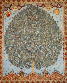 Tree of Life – Hand painted Kalamkari Motif from Gujarat, India Tree Of Life Painting, Tree Of Life Art, Madhubani Art, Madhubani Painting, Kalamkari Painting, Indian Prints, Indian Textiles, Indian Folk Art, Tribal Art