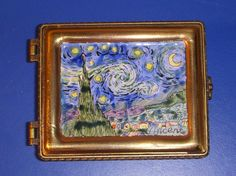 Blue Enamel and copper hinged box with Vincent Van Gogh's Starry Night painting on lid. Signed Kelvin Chan 3161 2000 on the back of the lid. Robin's egg blue interior. No chips. Slight bulge in side under hinge. | eBay!