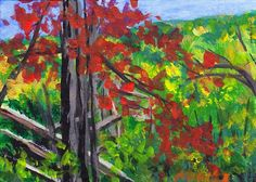 Early reds in the Blue Ridge. An original painting by Pat Adams - inspired by our trip to the 5200 ft elevation level in late September, 2011. While most colors were just beginning to change - this one tree was in full autumn color - and was such a delightful show off! You can find my available paintings at: www.bonanza.com/booths/NaturesViews