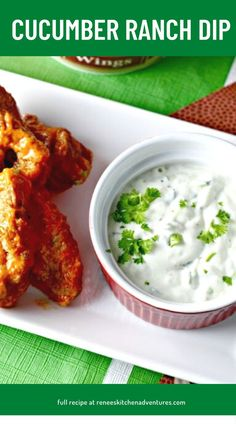 Delicious dip recipe with cucumbers and cool ranch a perfect pair with spicy hot wings. Roast Recipes, Dip Recipes, Chicken Recipes, Dinner Recipes, Ranch Dip, Cucumber Recipes, Zucchini Muffins, Deli, Spicy