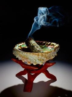 Smudging::Use sea salt in the bottom of the Abalone shell to prevent damage and avoid disrespect to water spirits.