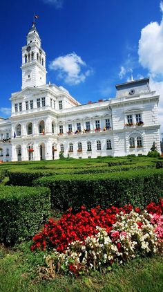 View of the white Town Hall building of Arad, Romania.