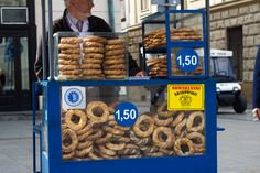 Kraków, Poland, obwarzanek, bagel, pretzel, main market square