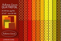 Autumn Leaves Quatrefoil digital pap by Laureling Studios on @creativemarket