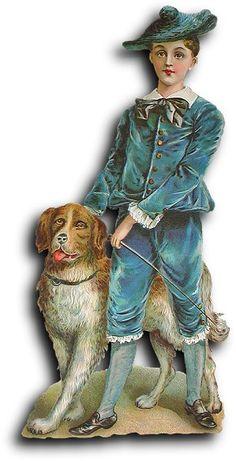 Victorian scrap: Boy with dog