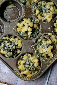 These two-bite chard-stuffed mac 'n' cheese bites are the perfect party appetizer or comfort-filled side dish!