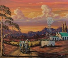 South African Contemporary and Upcoming Artist & Old Masters Art Gallery. Building Painting, House Painting, Landscape Paintings, Oil Paintings, Landscapes, Africa Painting, African Art Paintings, Upcoming Artists, South African Artists