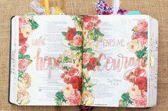 Job 17:9 & 15, May 9, 2017 carol@belleauway.com, fussy cut floral napkin, Liquitex Matte Gel Medium, Fabre Castell Pitt Artist brush pen, bible art journaling, journaling bible, illustrated faith