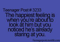 .....unless if he's some sort of creep who ur glancing at to see if he's still creeping....-speak from experience :) :)