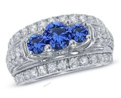 3 CT. T.W. Blue Sapphire and Diamond Three Stone Ring in 10K White Gold Finish #affoin8