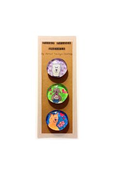 Cats n Dogs Funky Fridge Magnets Colorful by TaunyasButtonsnBows