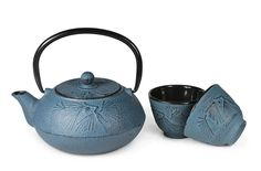 Cast iron teaware is traditionally favored for elegant design, heartiness and ability to retain heat for long periods of time - all attributes that enhance the tea experience. Each teapot is molded, painted and glazed by hand. It is then hand burnished to reveal nature-inspired details. Comes with stainless steel infuser to make steeping and removing leaves easy. Made in China. 20oz (0.6L). Complete the set with matching cups, 2 x 3.4oz (0.1L)., and save 50% on cups when purchased together…