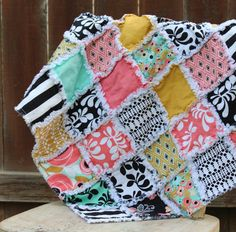Fun and bright baby girl rag quilt in pink white black aqua mustard yellow  by Sewology101, $38.00